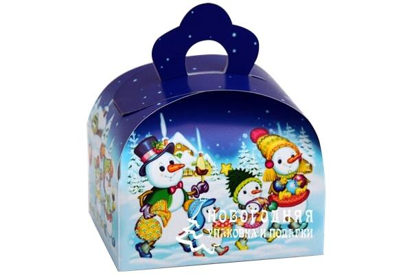 Фото коробочка со снеговиками